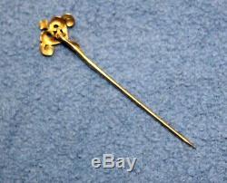 Estate Victorian Antique 14k Yellow Gold Pearl Stickpin