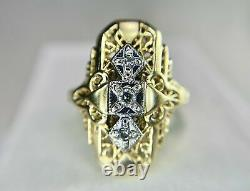 Estate Victorian Edwardian Engagement Ring 14K Yellow Gold Over 2.22 Ct Diamond