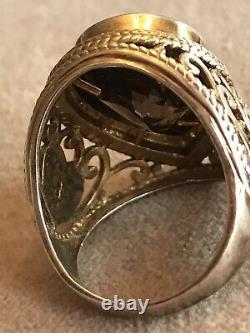 Estate Victorian Heart & Key design Diamond & Smokey Topaz Sterling Silver Ring
