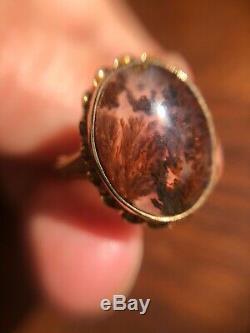 Estate Victorian Nouveau 10K Gold Moss Agate Ring Large Antique Size 7.5