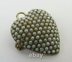 Estate Victorian seed pearl cluster puffy heart pendant brooch 10k Gold