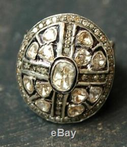 Estate Vintage 4.58ctRose Cut Diamond Uncut Diamond Sterling Silver Antique Ring