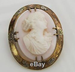 Estate Vintage Antique Carved Pink Shell Cameo Victorian Greek Goddess Brooch
