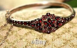 Estate Vintage Antique Edwardian Victorian Rose Cut Garnet Bohemian Bracelet