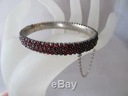 Estate Vintage-Antique Three Row Victorian Rose-Cut Bohemian Garnet Bracelet