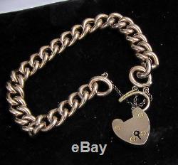 Estate Vintage Antique Victorian 9k Yellow Gold Heart Padlock Clasp 19g Bracelet