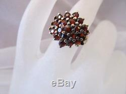 Estate Vintage-Antique Victorian Table Top Bohemian Garnet Sterling Silver Ring