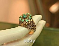 Estate antique 14k rose gold filigree Persian turquoise cluster ring sz 7