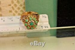 Estate antique French Victorian 14k rose gold filigree Persian turquoise cluster
