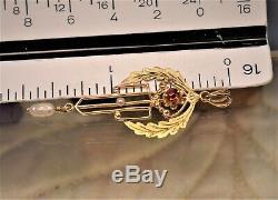 Estate antique Victorian 10K pearl ruby red paste lavalier pendant