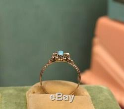 Estate antique Victorian 10K rose gold Persian turquoise Rose cut diamond ring s