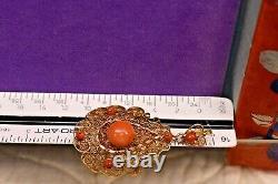 Estate antique Victorian 10k filigree large natural undyed coral pendant 2.25