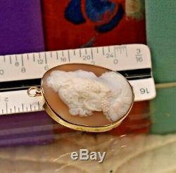 Estate antique Victorian 14k gold carved shell high relief cameo brooch pendant