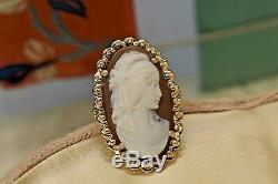 Estate antique Victorian 14k gold filigree huge shell cameo ring sz 6