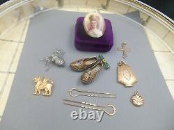 Estate lot great antique jewelry portrait lockets silver Victorian spider pin