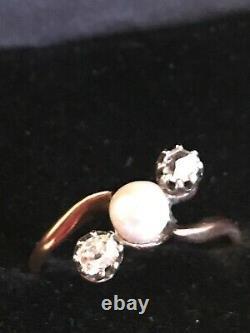 Estate victorian 14k gold natural pearl rose cut & old european cut diamond ring