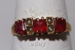 Exquisite Gypsy Ring 10K Y Gold Antique Victorian Ruby & Pearls Amazing Estate