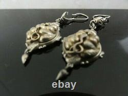 FAB Antique Victorian Gilded 835 Solid Silver Embossed Drop Dangle Earrings