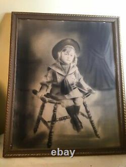 FINE ESTATE Antique Victorian SAILOR GIRL Portrait CHARCOAL DRAWING Painting