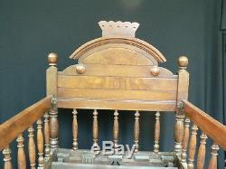 Fine Antique Walnut Rocking Baby Crib Bed Carved Victorian Estate Item Rare