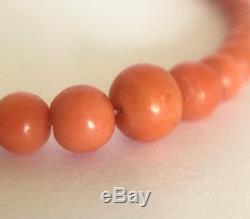 Fine ESTATE Antique Victorian Graduated Coral Bracelet 9ct Barrel Clasp