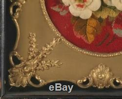 Framed Antique Victorian Needlework From Extensive New York Estate Sale