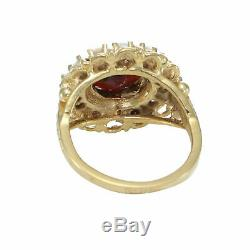 Garnet Fire Opal Cocktail Ring 14k Yellow Gold Over Antique Victorian Estate