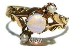 Great Victorian 10k Yellow Gold Cabochon Opal Seed Pearl Estate Ring Size 6.5