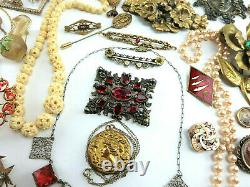 HIGH END Antique VTG Victorian ART DECO Jewelry LOT Signed TONS OF GOLD FILLED