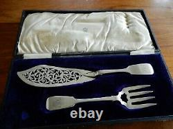 Heavy 1855 Set of Sterling Silver Fish Servers by Elizabeth Eaton, estate find