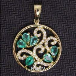 Incredible Victorian Edwardian Estate Pendant 2.8ct Emerald 14k Yellow Gold Over