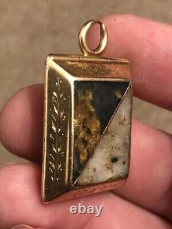 LARGE Antique California GOLD & GOLD IN QUARTZ & AGATE Watch FOB Locket Pendant