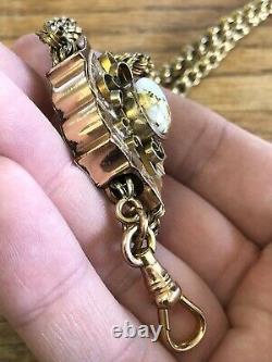 LARGE Antique Victorian Era GOLD IN GOLD QUARTZ & GF Slide Chain LOW START PRICE