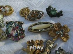 LOT of 32 pc ANTIQUE estate VICTORIAN VINTAGE JEWELRY Brooches Pins some GF