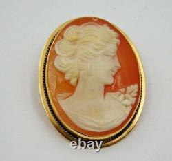 Ladies Antique Victorian Estate 18K Yellow Gold Cameo Portrait Lady BEAUTIFIUL
