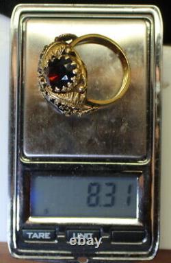 Ladies Estate Antique 14K Gold 3 Ct Oval Garnet Floral Style Ring Size 6