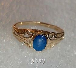 Ladies Vintage Estate Blue Lapis Ring 14K Yellow Gold 6.25 Victorian Filigree