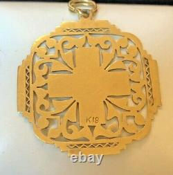 Large Antique Estate 18k Yellow Gold Cross Religious Pendant Victorian