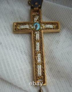 Large Antique Victorian Relic Reliquary Cross Pendant Bavarian Priest Estate