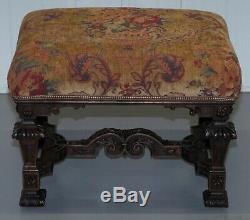 Large Very Rare 1884 Chateau De Landreville Estate Made Hand Carved Walnut Stool