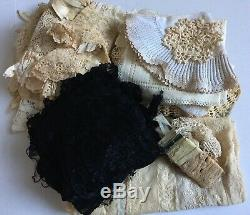 Lot New Orleans Estate Antique Vtg Victorian Dollies Lace Normandy Tablecloth +
