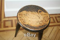 MAUCHLINe POKER WORK STOOL Victorian ex country house estate TREEN
