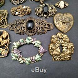 Mamas Estate Large Lot Of Vintage Antique Victorian Brooch Pins Assorted E1-8