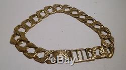 Mens Victorian Birmingham 9K Gold Link Bracelet C. 1890 Antique Handmade Estate