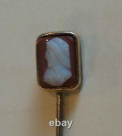 NICE ANTIQUE ESTATE 14K GOLD STICK PIN with VICTORIAN HARDSTINE CAMEO