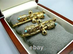 PAIR Antique 1882 Victorian Hinged Bracelet Gold Filled GF Turquoise withGift Box