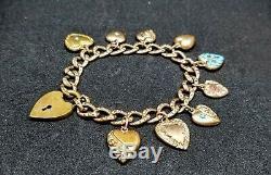 RAREAntique VICTORIAN HEART Charms 7 BraceletSolid Gold&GFESTATEBlue Enamel