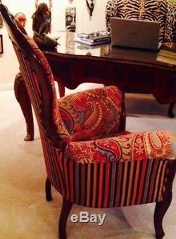 RARE 48 High Victorian Armchair Designer Upholstery Estate Antique
