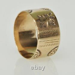 RARE Antique Victorian 9k Gold Floral Leaf Wide Band Ornate Etched Estate Ring
