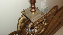 Rare Antique Brass Victorian fireplace Screen Peacock Fan ESTATE FIND NICE LOOK
